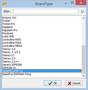 Start Visuino, and Select the ESP8266 Board Type
