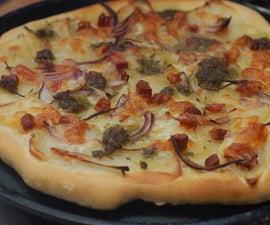potato, bacon and red onion crispy pizza