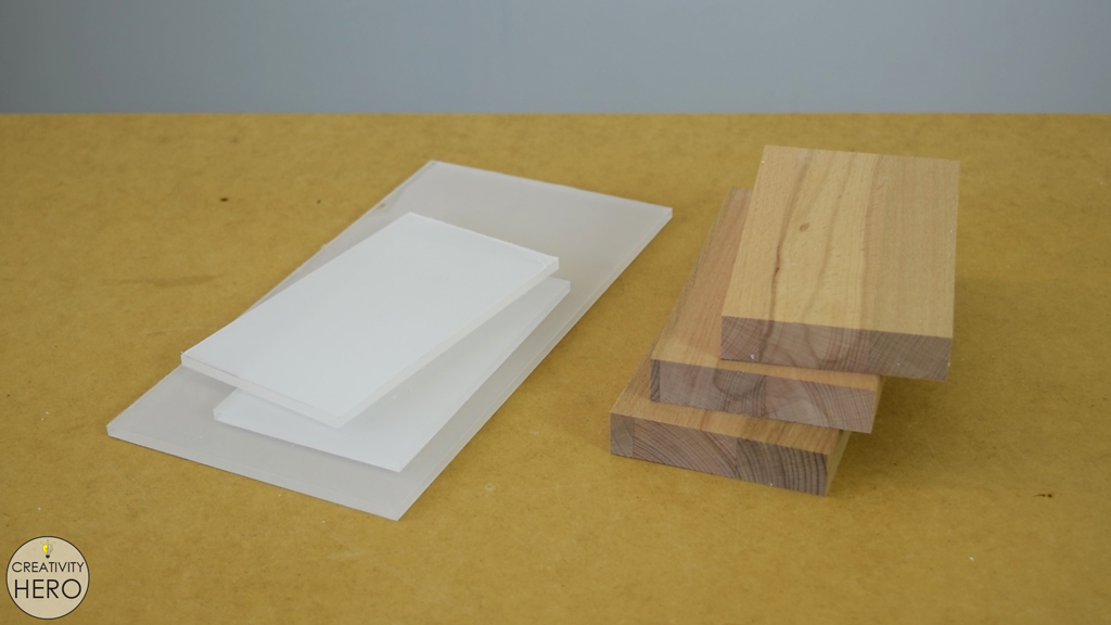 Picture of Cutting the Wood and the Acrylic to Size.
