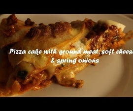 Pizza Cake With Ground Meat, Soft Cheese & Spring Onions Recipe