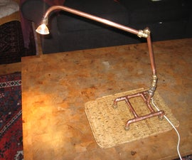 Desk lamp made from old plumbing bits