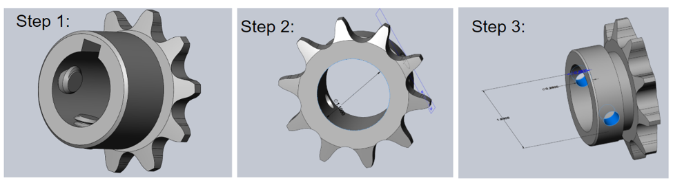 Picture of  Designing the Small Sprocket in Solidworks