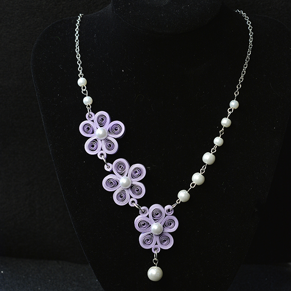 Picture of Here Is the Final Look of the Purple Quilling Paper Flower Necklace.
