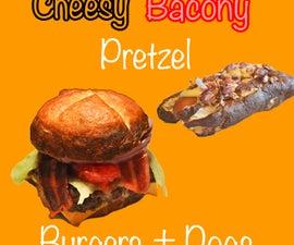 Cheesy Bacony Pretzel Burgers and Dogs