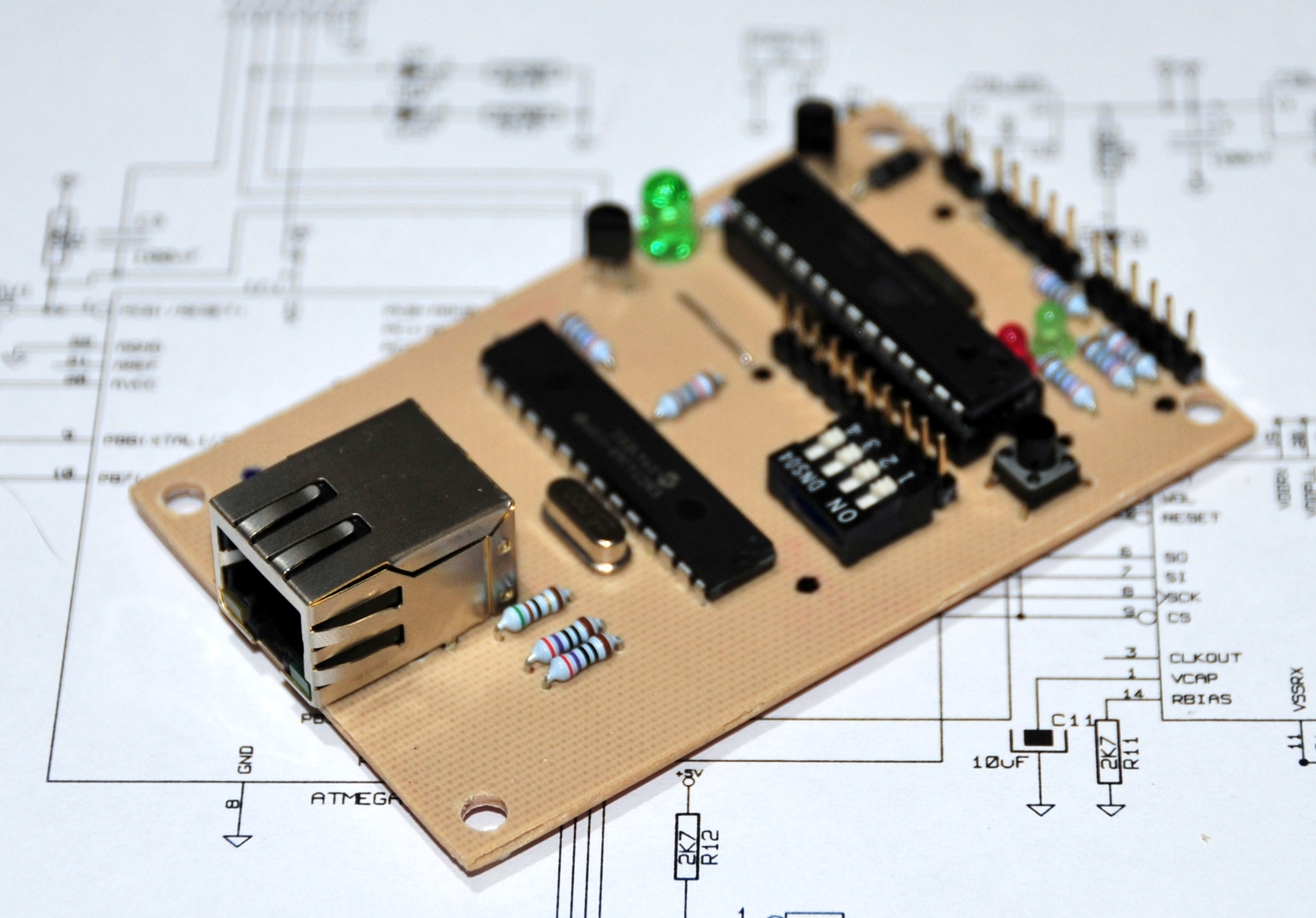 Picture of A Credit Card Sized Ethernet Arduino Compatable Controller Board