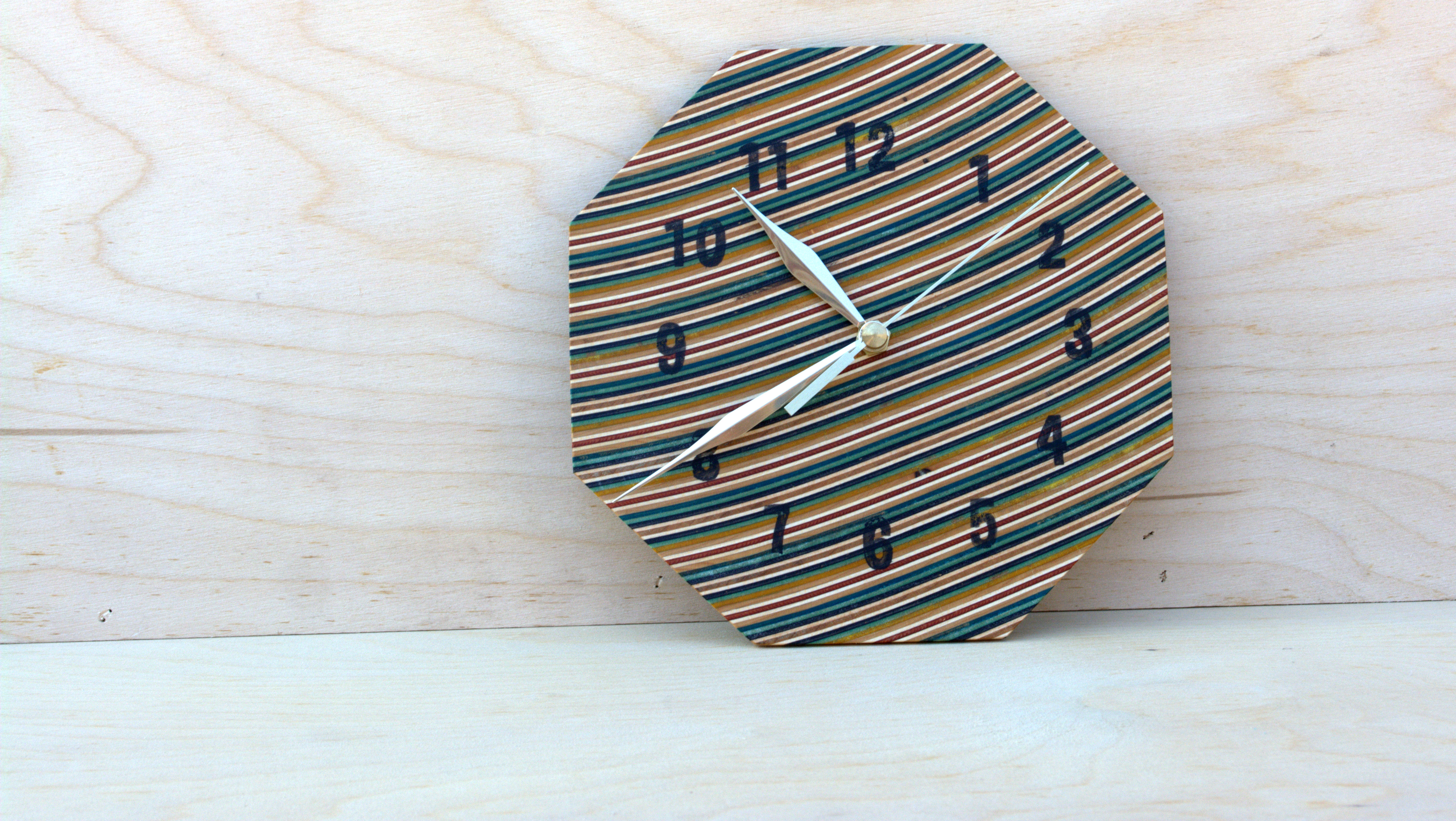 Picture of Wooden Clock Out of Recycled Skateboards