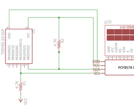 Serial I2C HD44780-compatible LCD for ATTINY85