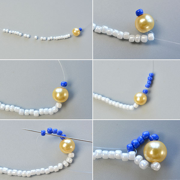 Picture of Make the First Part of the Blue Seed Bead Stitch Wide Bracelet