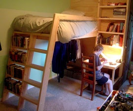 Loft beds with bookshelf ladders