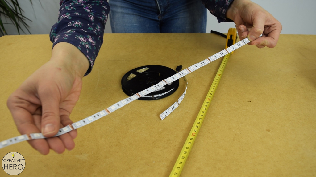 Picture of Cutting the LED Strip to the Desired Length.
