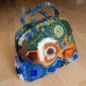 Finished Freeform Crochet Bag: