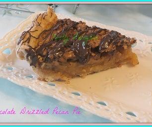 Chocolate Drizzled Bourbon Pecan Pie