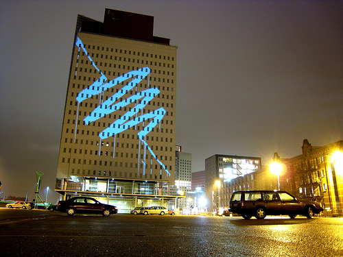Picture of BUILDING SIZE GRAFFITTI WITH LASER, PAINT ALL WITH ONE HAND