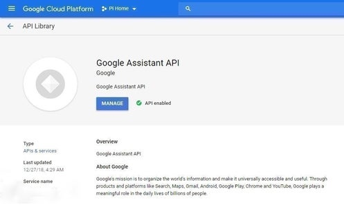 Enabling the Google Assistant Cloud Project.