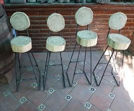 Rebar / Log Bar Stools -- Bancos De  Bar Varilla / Troncos