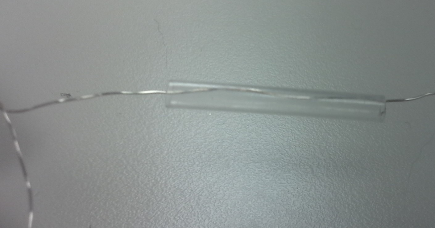 Picture of Connection Between the End of the Light Strand and the Cable to the Battery Pack: