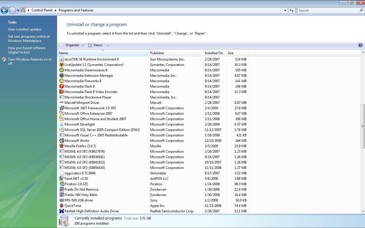 Picture of Remove Programs (Add or Remove Programs)