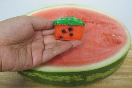 Finishing the Watermelon Cupcakes