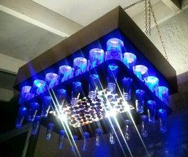Aluminum Copper Colored Beer Bottle LED Light Chandelier (With Cap Saver Display)