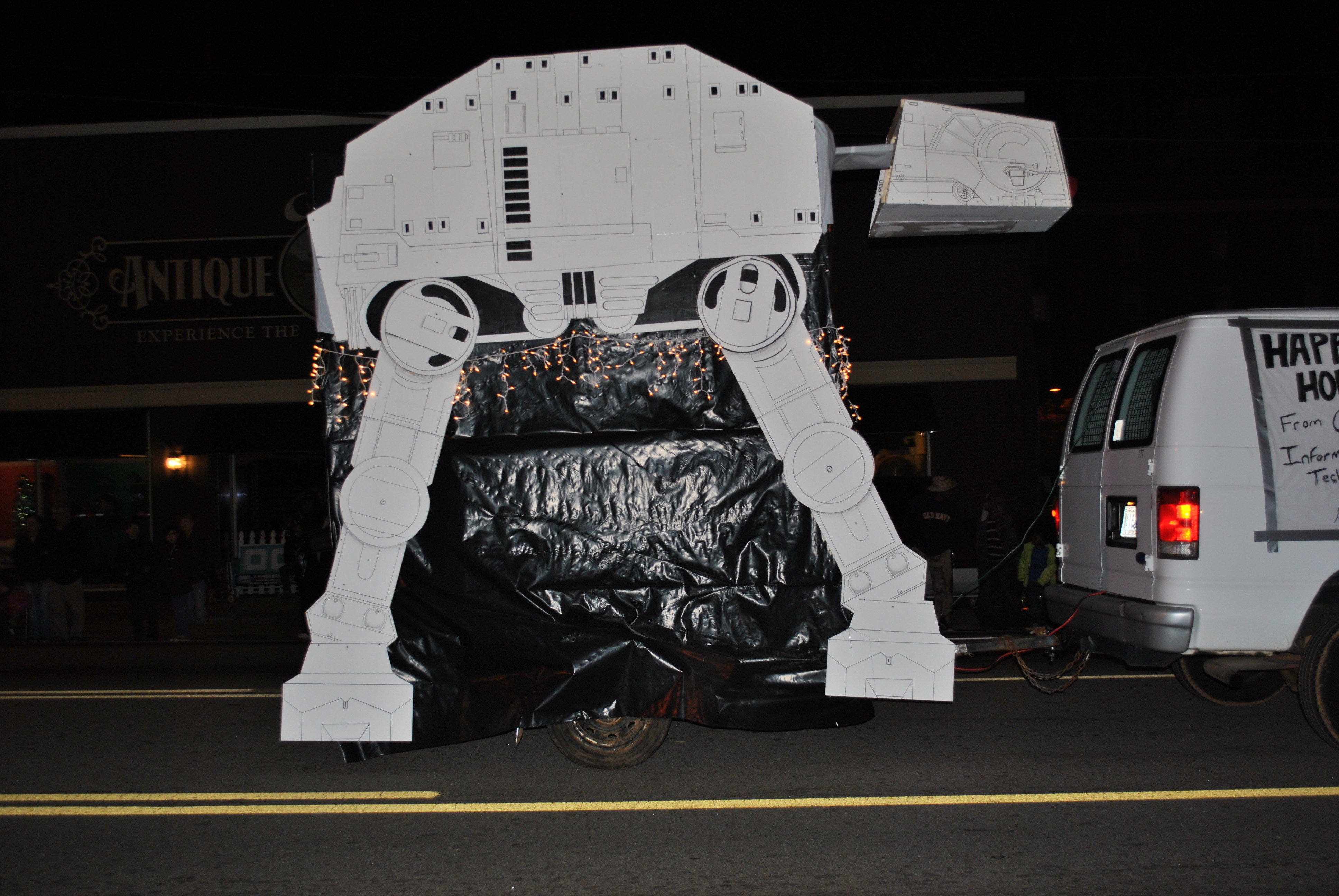 "Picture of 13 FOOT TALL AT-AT ""FLOAT"" FOR CHRISTMAS PARADE."