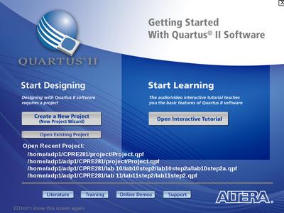 Starting Quartus