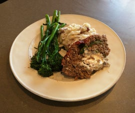 Goat cheese and greens stuffed venison meatloaf!