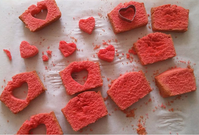 Picture of Place Cute Hearts and Bake the Cake