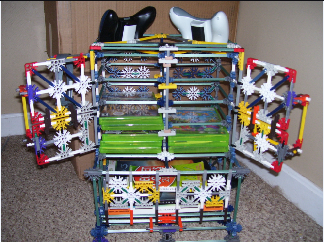 Picture of Knex Xbox 360 Game, Controller, Console, and Guidebook Cabinet