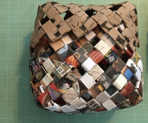 Woven Basket Made Out of Recycled Paper / Junk Mail