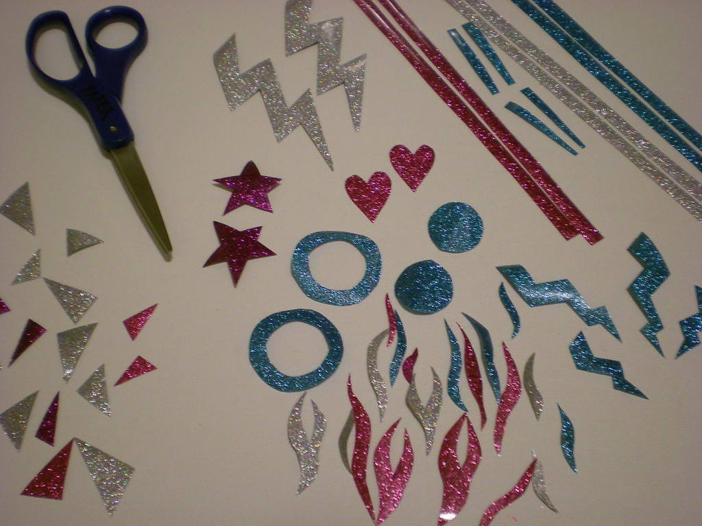 Picture of Cut Out Shapes From Glitter Sheets