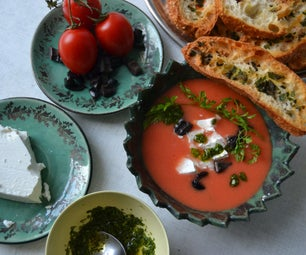 Cold Watermelon & Tomato Soup With Sheep Cheese, Olives and Chervil