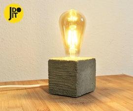 Concrete Lamp With Wood Grain Texture