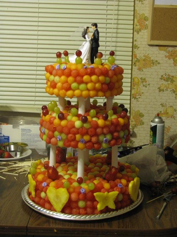 Fresh Fruit Three Tier Wedding Cake