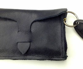 Leather Business Card Case w/ keyring & outside pckt