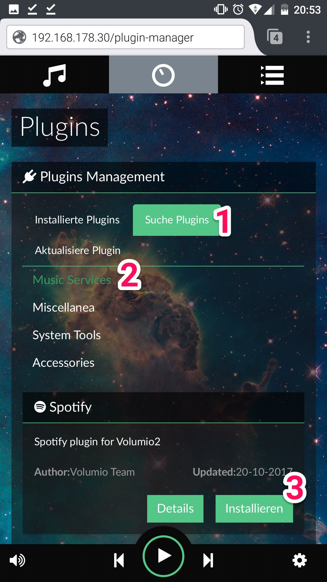 Picture of Setup the Plugins for Volumio