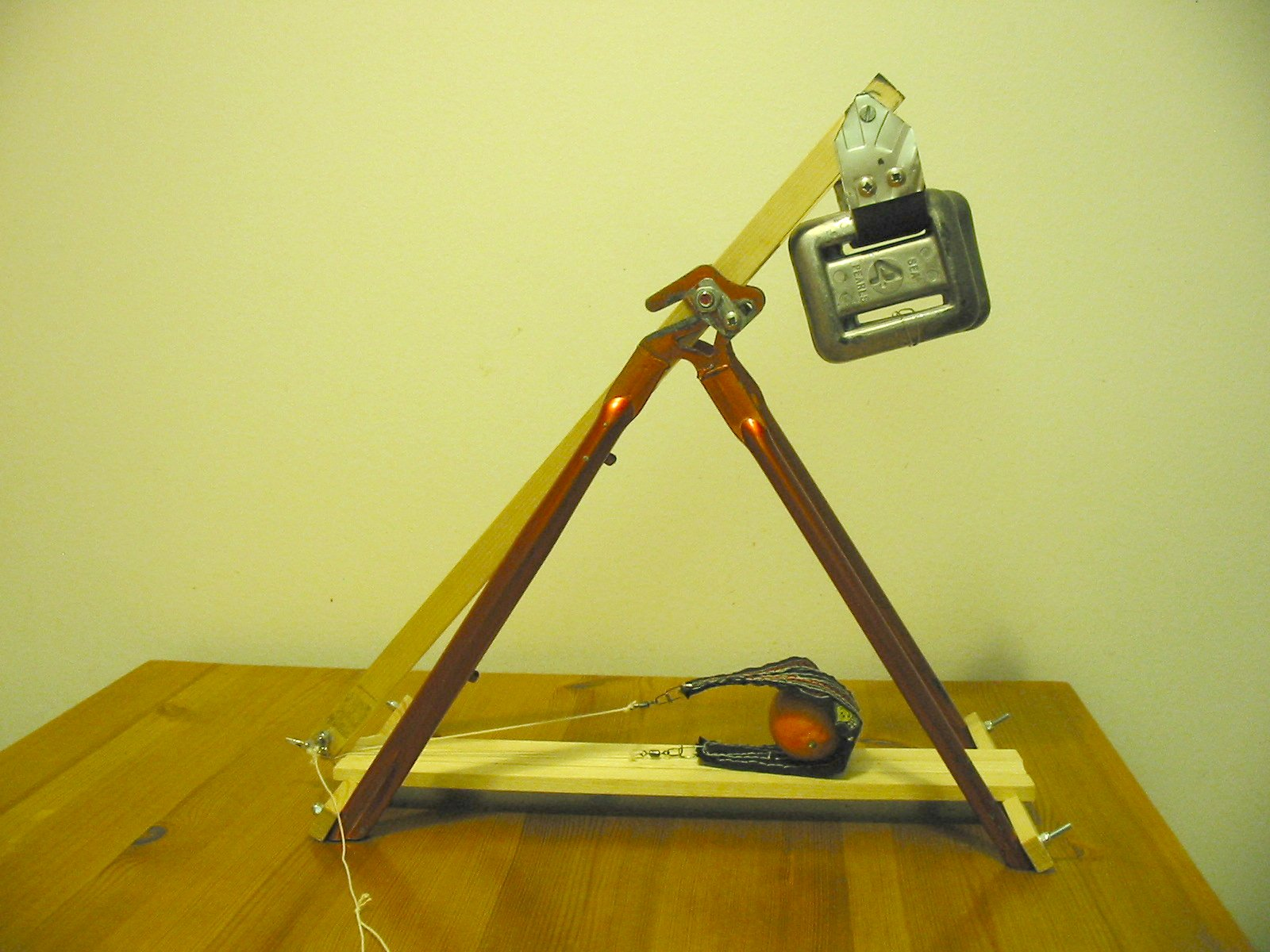 Picture of Desktop Trebuchet From Bicycle Frame
