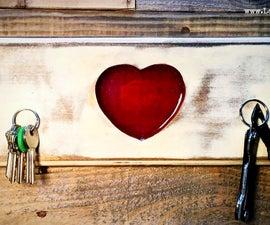 Rustic Epoxy Heart Key Hanger
