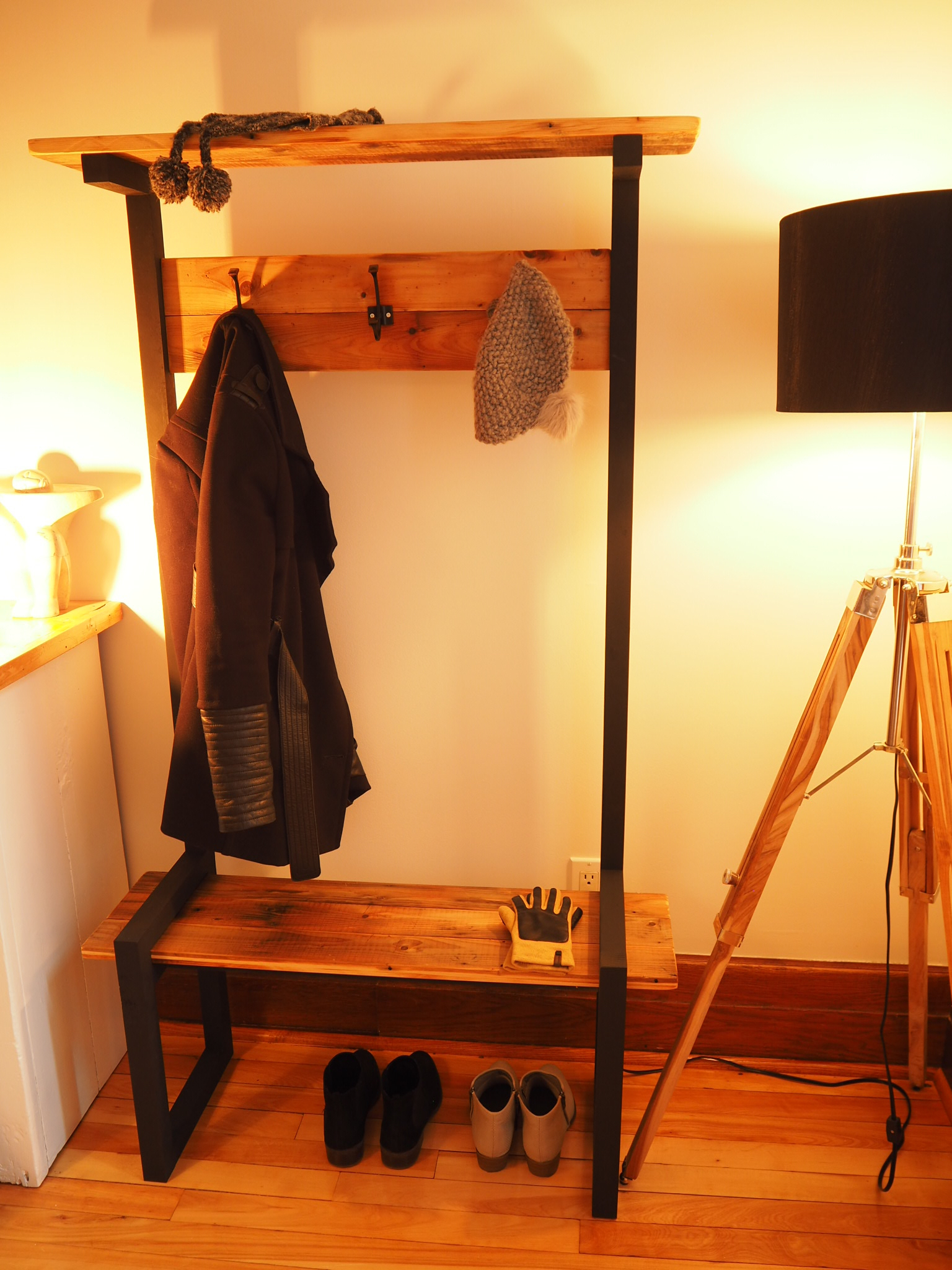 Picture of Industrial Coat Rack Bench (Hall Tree)