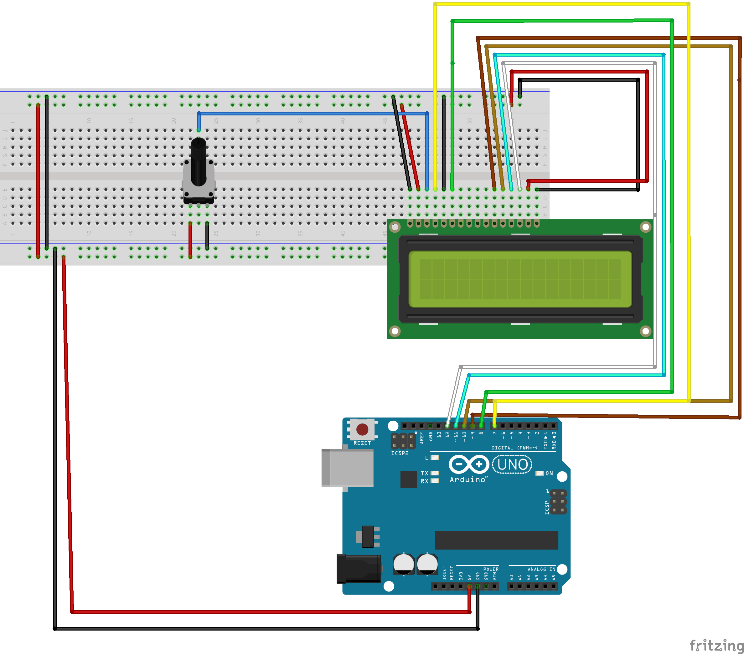 Picture of Connect the LCD Screen and Potentiometer