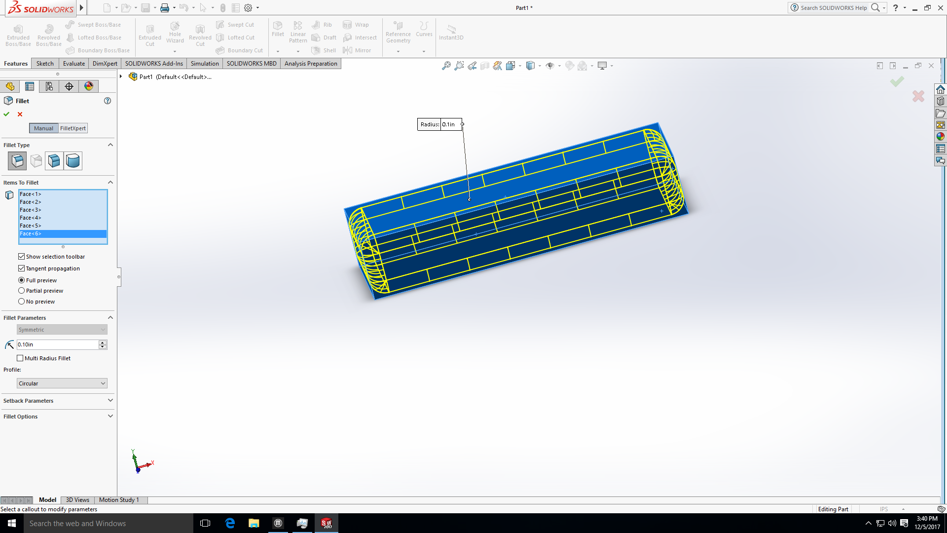 Picture of Extruding and Fillet