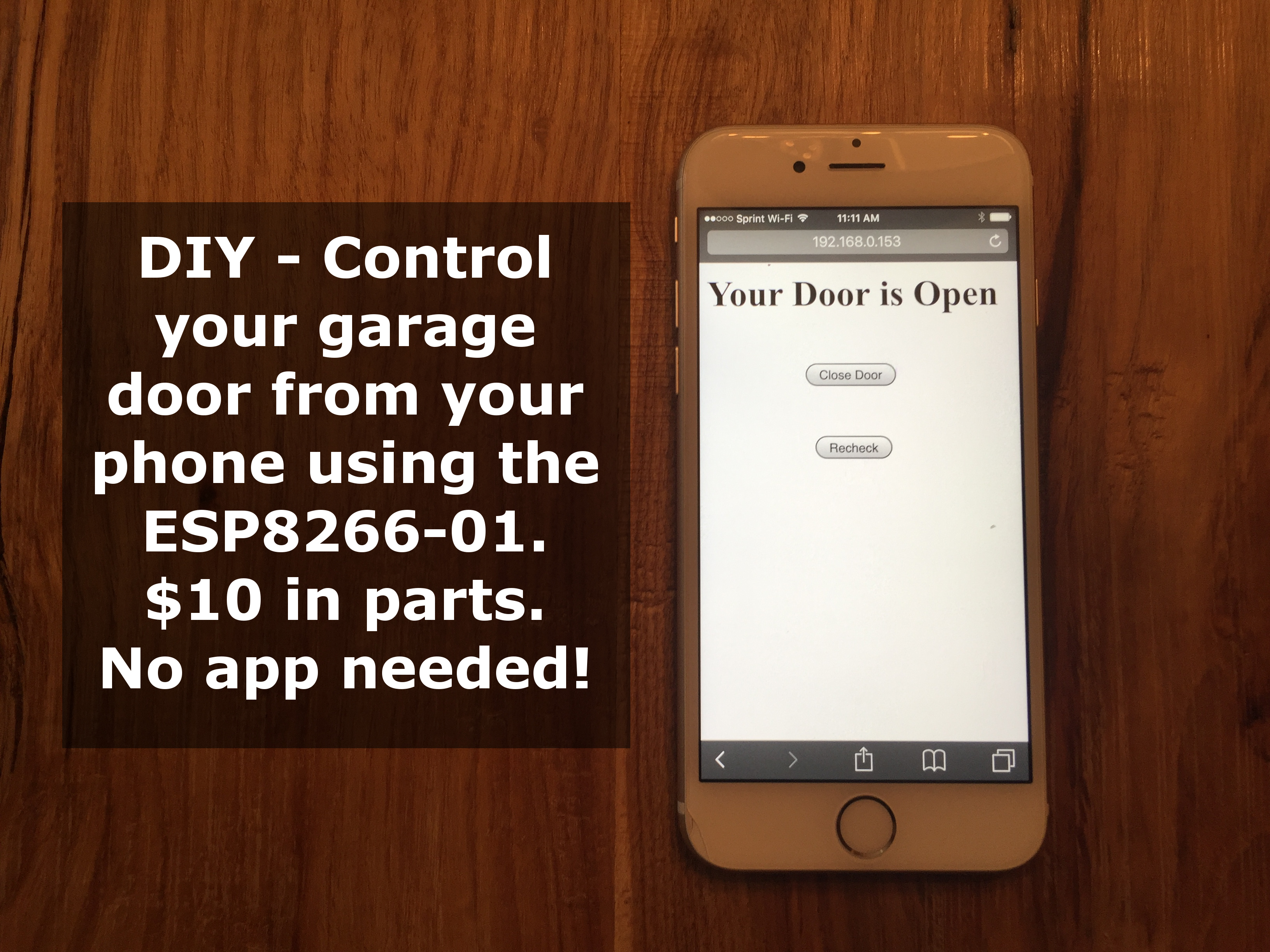 Picture of Smart Phone (WiFi) Controlled Garage Door Opener With ESP8266