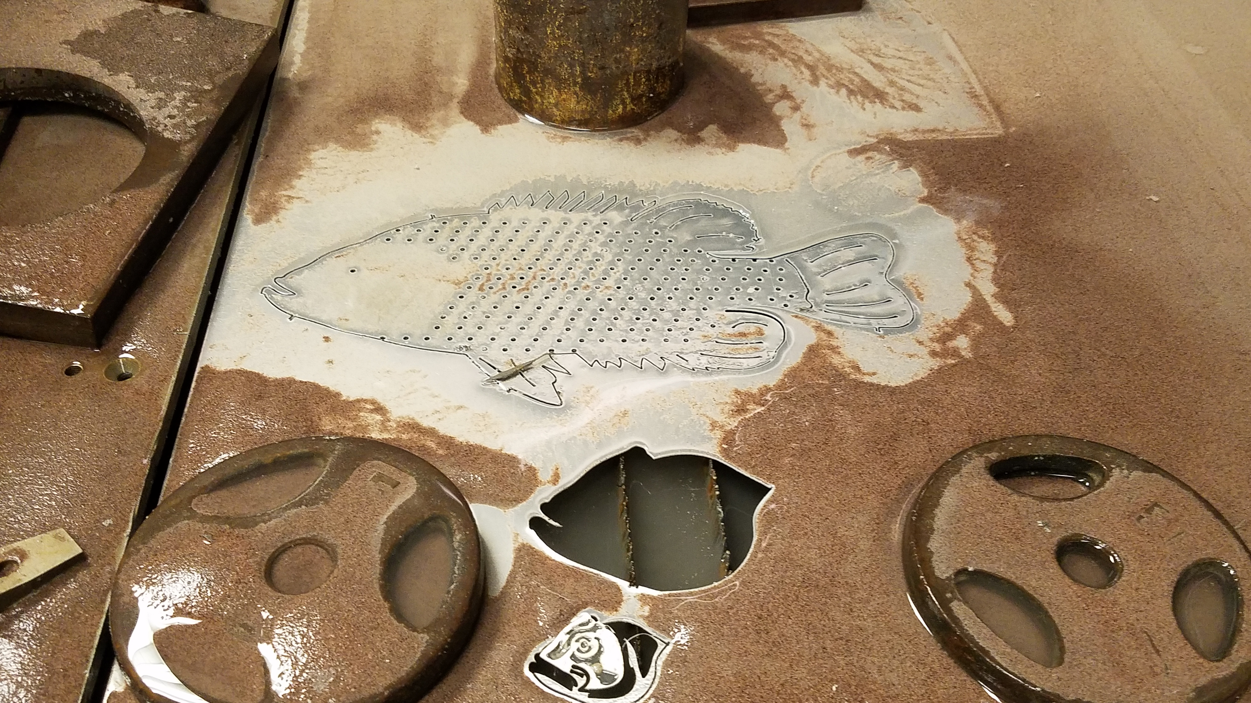 Picture of Waterjet Out the Base Pieces.