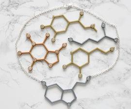Rhinestone and 3D Print Molecule Necklaces