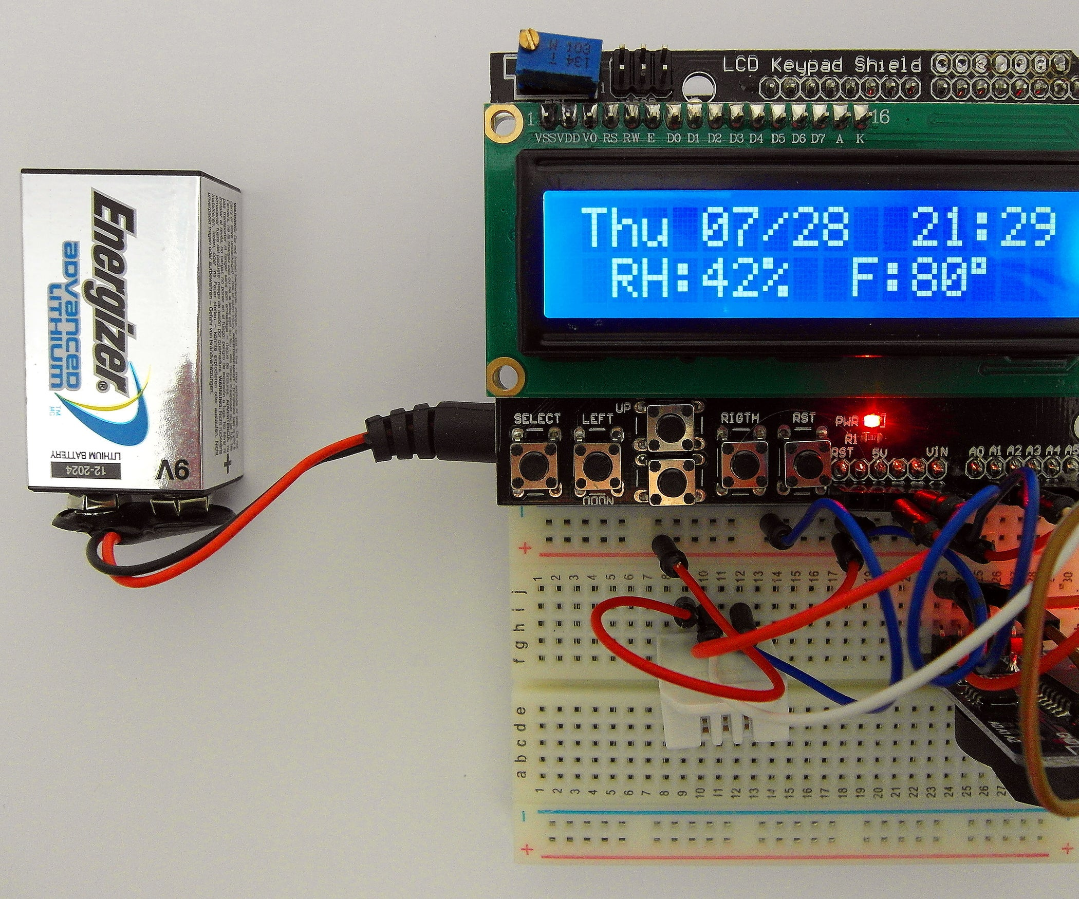 Day of the Week, Calendar, Time, Humidity Temperature W Battery Saver