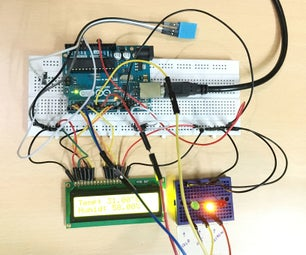 Temp & Humidity Sensor With LCD Disp & LED Indicator