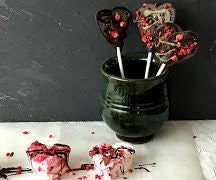 Sweet Valentine - Heart Shaped Raspberry Marshmallows and Chocolate Lollipops