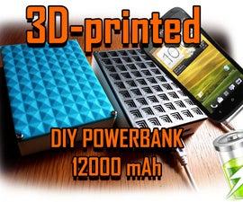 Powerbank DIY 12000-16000 MAh 2.1 Amp 3D-printed With LED-flashlight