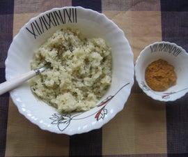 Garlic Rice With Chickpea Lentils Chutney
