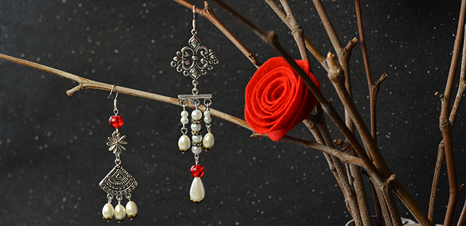 Picture of How to Make a Pair of Asymmetry Vintage Style Drop Earrings With White Pearl Drop Beads