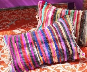 No Sew Rag Rug Pillows